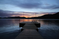 Brown Wooden Dock During Twilight Royalty Free Stock Images