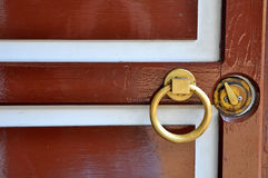 Brown wooden door. A brown wooden door with white stripes pattern and a golden handle and lock Royalty Free Stock Photos