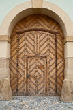 Brown Wooden Door within door Stock Images