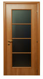 Brown wooden door with glass Royalty Free Stock Images