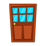 Brown wooden door with glass icon, cartoon style Royalty Free Stock Image
