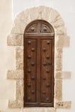 Brown Wooden Door; Ibiza Stock Photo