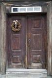 Brown Wooden Door in Old House. Brown Wooden Framed Door in Old House stock photo