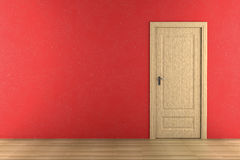 Brown wooden door on red wall royalty free stock photos