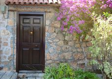 Brown wooden door in a stone wall under blooming bougainvillea royalty free stock photos