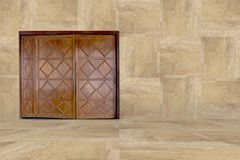 Brown wooden door with wall and floor wood royalty free stock photography