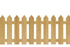 Brown wooden fence. Isolated on white background Stock Photography