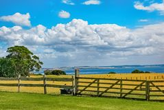 Brown Wooden Fence Across Crop Field Near Body of Water Stock Photos
