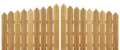 Brown wooden fence isolated on white background. Used for design Royalty Free Stock Photo
