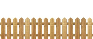 Brown wooden fence isolated on white background. Used for design Stock Photos