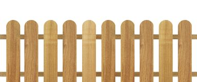 Brown wooden fence isolated on white background. Used for design Stock Photography
