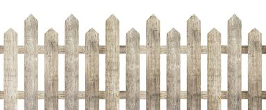 Brown wooden fence isolated on white background. Used for design Royalty Free Stock Images