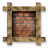 Brown wooden frame against a white background with red brick wall, copy space in the center Stock Images