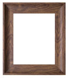 Brown wooden frame. Isolated on white Stock Photography