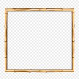 Brown wooden frame made of realistic brown bamboo vector illustration