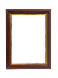 Brown wooden frame for painting or picture isolated on white bac Stock Photo