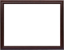 Brown wooden frame. Picture isolated on white Stock Images