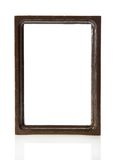 Brown wooden frame for pictures or the photos. Isolated on white stock illustration