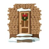 Christmas door decorated with wreath stock illustration