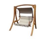 Brown wooden garden swing isolated over white background Royalty Free Stock Image