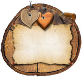 Brown Wooden Hearts on Trunk Section Stock Photos