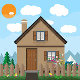 Brown wooden house and garden with flowers. mountains, blue sky, white clouds. sun. summer background, vector. Brown wooden house and garden with flowers Royalty Free Stock Images