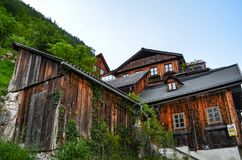 Brown Wooden House Near Mountain With Green Leaf Trees Stock Photo