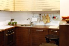Brown wooden kitchen stock photos