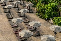 Brown wooden loungers and umbrellas. View from height stock images