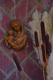Brown wooden Maria statue Royalty Free Stock Image