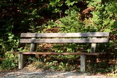 Brown Wooden Outdoor Bench during Day Time Royalty Free Stock Photography