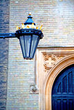 Brown wooden parliament in london old  street lamp Royalty Free Stock Image
