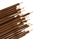 Brown wooden pencil arrange on white background Royalty Free Stock Photography