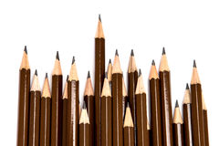 Brown wooden pencil arrange on white background Stock Photography