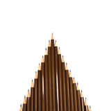Brown wooden pencil arrange on white background Stock Image