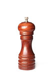 Brown wooden pepper mill on white background Stock Photos