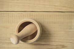 Brown Wooden Pestle and Mortar Stock Photography