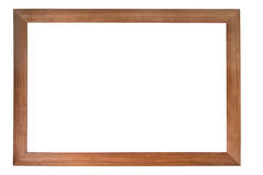 Brown wooden photo frame. Isolated on white (with empty space for text, photo or picture Stock Image