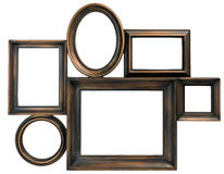 Brown wooden photo frame royalty free stock photography