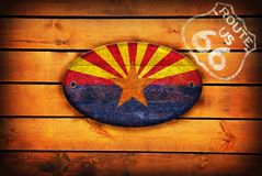 Arizona flag and shield of Route 66. stock illustration