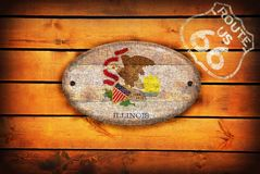Illinois flag and shield of Route 66. Royalty Free Stock Photos