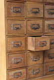 Brown wooden retro drawers Stock Images