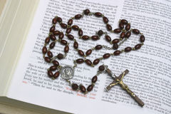 Brown Wooden Rosary Beads Stock Photos