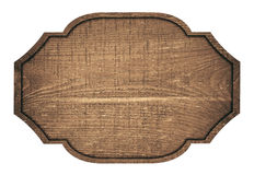 Brown wooden signboard, plate, plank and dark Royalty Free Stock Image