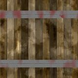 Brown wooden slats reinforced with iron bands. Old color wooden texture Stock Photo