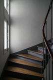 Brown Wooden Stair Beside White Wooden Frame Glass Window Stock Photos