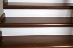 Brown wooden staircase Stock Photo