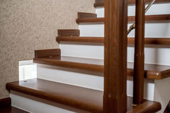 Brown wooden staircase Royalty Free Stock Images