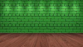 The brown wooden table top in the background is a green old brick. Spotlight effect on the wall - can be used for display or royalty free illustration