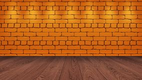 The brown wooden table top in the background is a orange old brick. Spotlight effect on the wall - can be used for display or vector illustration